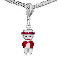 Charms Beads - SILVER PLATED HAPPY RED AMERICAN GIRL CHARM BRACELET EUROPEAN BEAD alternate image 1.
