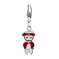 Charms Beads - SILVER PLATED HAPPY RED AMERICAN GIRL CHARM BRACELET EUROPEAN BEAD alternate image 2.
