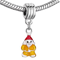 Charms Beads - YELLOW SANTA WEARING RED HAT CHARM BRACELET SPACERS DANGLE BRACELETS alternate image 1.