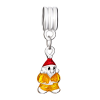 Charms Beads - YELLOW SANTA WEARING RED HAT CHARM BRACELET SPACERS DANGLE BRACELETS alternate image 2.