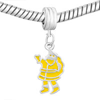 Charms Beads - SILVER PLATED YELLOW SANTA CLAUS EUROPEAN BEAD CHARMS BRACELETS alternate image 1.