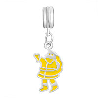 Charms Beads - SILVER PLATED YELLOW SANTA CLAUS EUROPEAN BEAD CHARMS BRACELETS alternate image 2.