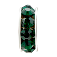 European Beads - MAY BIRTHSTONE EMERALD GREEN CRYSTAL ALL BRAND SILVER PLATED BEADS CHARMS BRACELETS alternate image 2.