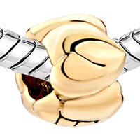 Charms Beads - JEWELRY HEART SHAPE LOVE FIT ALL BRANDS TWO TONE PLATED BEADS CHARMS BRACELETS alternate image 1.