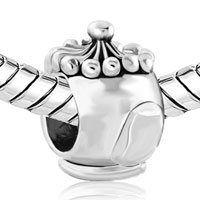 Charms Beads - SILVER PLATED SMALL TEAPOT EUROPEAN INFANT CHARM BEAD CHARM BRACELET alternate image 1.
