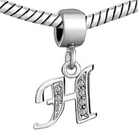 Charms Beads - LETTER BRACELET CHARMS INITIAL H DANGLE ALPHABET EUROPEAN BEAD alternate image 1.