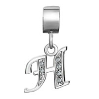 Charms Beads - LETTER BRACELET CHARMS INITIAL H DANGLE ALPHABET EUROPEAN BEAD alternate image 2.