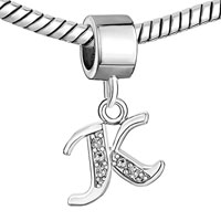 Charms Beads - LETTER BRACELET CHARMS INITIAL K DANGLE ALPHABET EUROPEAN BEAD alternate image 1.