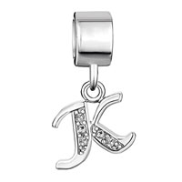 Charms Beads - LETTER BRACELET CHARMS INITIAL K DANGLE ALPHABET EUROPEAN BEAD alternate image 2.
