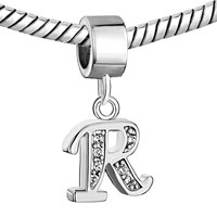 Charms Beads - LETTER BRACELET CHARMS INITIAL R DANGLE ALPHABET EUROPEAN BEAD alternate image 1.