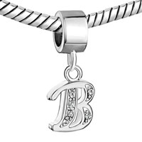 Charms Beads - LETTER BRACELET CHARMS INITIAL B DANGLE ALPHABET EUROPEAN BEAD alternate image 1.