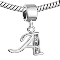 Charms Beads - LETTER BRACELET CHARMS INITIAL A DANGLE ALPHABET EUROPEAN BEAD alternate image 1.