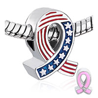 Charms Beads - BREAST CANCER AWARENESS USA FLAG PINK RIBBON BEADS CHARMS BRACELETS alternate image 1.