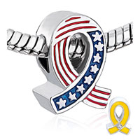 Charms Beads - USA FLAG YELLOW RIBBON BEADS CHARMS BRACELETS FIT ALL BRANDS alternate image 1.