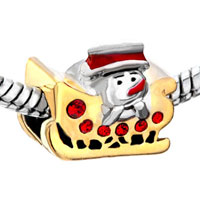 Charms Beads - CUTE SNOWMAN IN SLED RED CRYSTAL EUROPEAN BEAD CHARMS BRACELETS alternate image 1.