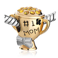 Charms Beads - MOTHER DAUGHTER 1 NUMBER 1 MOM GOLDEN CUP BEADS CHARMS BRACELETS alternate image 1.