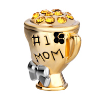 Charms Beads - MOTHER DAUGHTER 1 NUMBER 1 MOM GOLDEN CUP BEADS CHARMS BRACELETS alternate image 2.