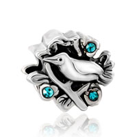 Charms Beads - CUTE BIRD ON TREE EMERALD RHINESTONE CRYSTAL BEADS CHARMS BRACELETS alternate image 2.