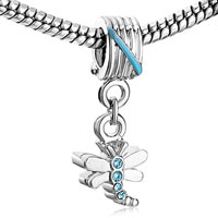 Charms Beads - DRAGONFLY MARCH BIRTHSTONE CRYSTAL DANGLE BEADS CHARM BRACELETS alternate image 1.