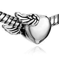 Charms Beads - SILVER PLATED HEART CHARM BRACELET SIDE WINGS LOVE EUROPEAN BEAD alternate image 1.