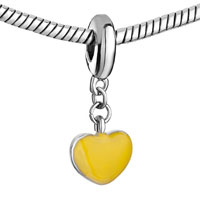 Charms Beads - SILVER HEART CHARM BRACELET YELLOW DRIP GUM DANGLE EUROPEAN BEAD alternate image 1.