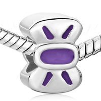 Charms Beads - SILVER PLATED BOWTIE PURPLE DRIP GUM EUROPEAN BEAD CHARMS BRACELETS alternate image 1.