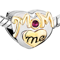 Charms Beads - MOTHER DAUGHTER CHARMS PURPLE CRYSTAL GOLDEN LOVE MOM HEART CHARM alternate image 1.