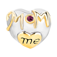 Charms Beads - MOTHER DAUGHTER CHARMS PURPLE CRYSTAL GOLDEN LOVE MOM HEART CHARM alternate image 2.