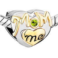 Charms Beads - MOTHER DAUGHTER CHARMS PERIDOT CRYSTAL GOLDEN LOVE MOM HEART CHARM alternate image 1.