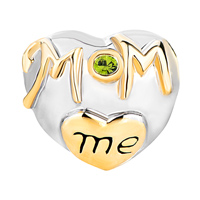 Charms Beads - MOTHER DAUGHTER CHARMS PERIDOT CRYSTAL GOLDEN LOVE MOM HEART CHARM alternate image 2.