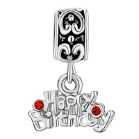 Charms Beads - HEART CHARM BRACELET DANGLE HAPPY BIRTHSDAY JANUARY BIRTHS SIAM alternate image 2.