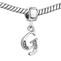 Charms Beads - LETTER INITIAL APRIL BIRTHSTONE DANGLE ALPHABET BEADS CHARM BRACELET alternate image 1.