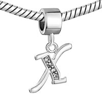 Charms Beads - LETTER INITIAL X APRIL BIRTHSTONE DANGLE ALPHABET BEADS CHARM BRACELET alternate image 1.