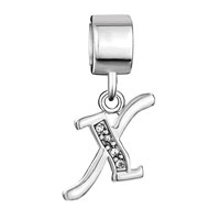 Charms Beads - LETTER INITIAL X APRIL BIRTHSTONE DANGLE ALPHABET BEADS CHARM BRACELET alternate image 2.