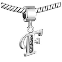 Charms Beads - LETTER INITIAL F APRIL BIRTHSTONE DANGLE ALPHABET BEADS CHARM BRACELET alternate image 1.