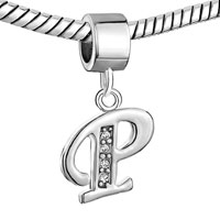 Charms Beads - LETTER INITIAL APRIL BIRTHSTONE DANGLE ALPHABET BEADS CHARM BRACELET alternate image 1.