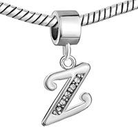 Charms Beads - LETTER INITIAL Z APRIL BIRTHSTONE DANGLE ALPHABET BEADS CHARM BRACELET alternate image 1.