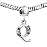 Charms Beads - LETTER INITIAL Q APRIL BIRTHSTONE DANGLE ALPHABET BEADS CHARM BRACELET alternate image 1.