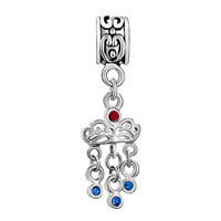 Charms Beads - CROWN LIGHT SIAM CRYSTAL DANGLE TRIPLE SEPTEMBER BIRTHS SAPPHIRE BEAD alternate image 2.