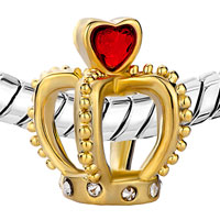 Charms Beads - BIRTHSTONE CHARMS HEART JULY BIRTHSTONE RED CRYSTAL GOLDEN CROWN CLEAR EUROPEAN BEADS alternate image 1.