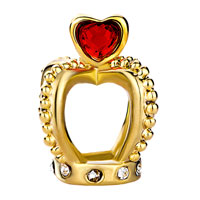 Charms Beads - BIRTHSTONE CHARMS HEART JULY BIRTHSTONE RED CRYSTAL GOLDEN CROWN CLEAR EUROPEAN BEADS alternate image 2.
