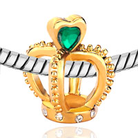 Charms Beads - FILIGREE GOLDEN CROWN HOLDING GREEN ELEMENT CRYSTAL HEART CHARM LOVE alternate image 1.