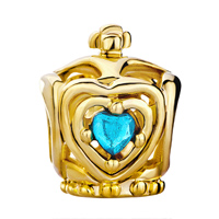 Charms Beads - GOLDEN CROWN BLUE AQUAMARINE CRYSTAL HEART CHARM BRACELET BEADS alternate image 2.
