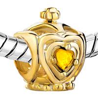 Charms Beads - GOLDEN CROWN NOVEMBER BIRTHS TOPAZ CRYSTAL HEART CHARM BRACELET BEADS alternate image 1.