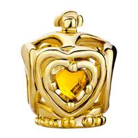 Charms Beads - GOLDEN CROWN NOVEMBER BIRTHS TOPAZ CRYSTAL HEART CHARM BRACELET BEADS alternate image 2.