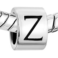 Charms Beads - SILVER PLATED LETTER BRACELET CHARM INITIAL Z ALPHABET EUROPEAN BEAD alternate image 1.