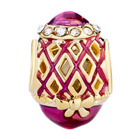 Charms Beads - BLUE HOLLOW RHOMBUS BOWKNOT CRYSTAL FABERGE EGG BEAD CHARM BRACELETS alternate image 2.