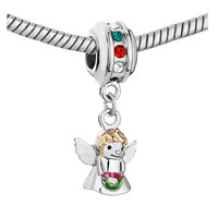 Charms Beads - MULTI COLOR BIRTHSTONE CRYSTAL ANGEL WITH WINGS DANGLE BEADS CHARM BRACELET alternate image 1.