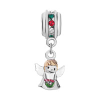 Charms Beads - MULTI COLOR BIRTHSTONE CRYSTAL ANGEL WITH WINGS DANGLE BEADS CHARM BRACELET alternate image 2.