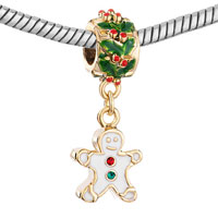 Charms Beads - SILVER HOLLY GINGERBREAD MAN COOKIE FOR GOLD PLATED BEADS CHARMS BRACELETS FIT ALL BRANDS alternate image 1.